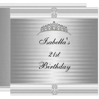 21. Geburtstags-Juwel-Tiara-Silber u. Weiß Karte