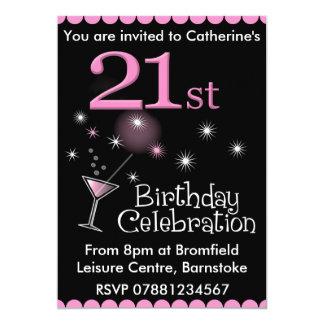 21. Geburtstags-Party Einladung - Cocktail-Glas