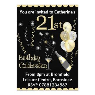 21. Geburtstags-Party Einladungen - Schwarzes u.