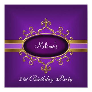 21. Geburtstags-Party-elegantes lila Gold Quadratische 13,3 Cm Einladungskarte