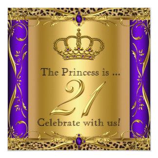 21. Geburtstags-Party Prinzessin-Regal Purple Quadratische 13,3 Cm Einladungskarte