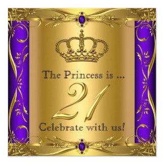 21. Geburtstags-Party Prinzessin-Regal Purple Gold Quadratische 13,3 Cm Einladungskarte