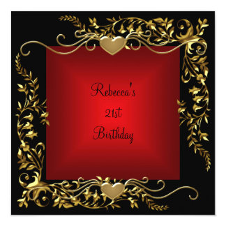 21. Geburtstags-Party-Schwarz-helles tiefrotes Karte