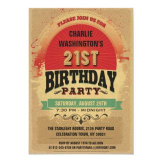 21. Geburtstags-Vintager TypografieGrunge Einladung