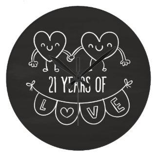 21. Jahrestags-Geschenk-Kreide-Herzen Wanduhren