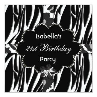 21. Jugendlich Geburtstags-PartySchwarz-weißer Quadratische 13,3 Cm Einladungskarte