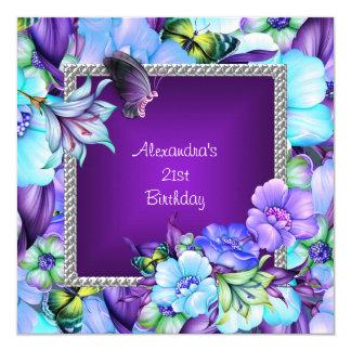 21ème anniversaire de fleurs argentées pourpres carton d'invitation  13,33 cm