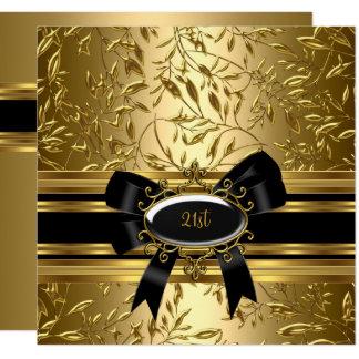 21ème Or 2 floraux de noir de fête d'anniversaire Carton D'invitation 13,33 Cm