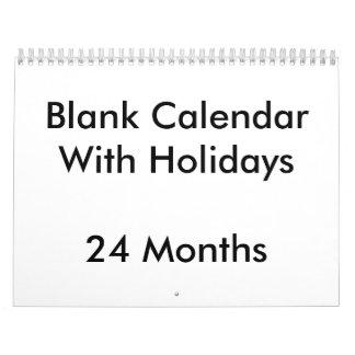24 Monate leere Kalender-mit Feiertagen Abreißkalender