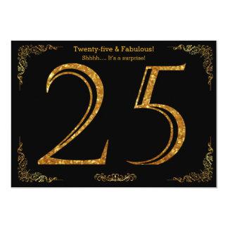 25. Geburtstags-Party, Gatsby styl, schwarzer 12,7 X 17,8 Cm Einladungskarte