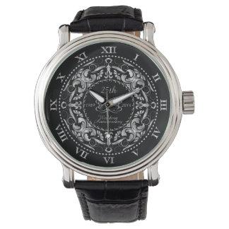 25. Hochzeits-Jahrestags-Silber verziert - Uhr