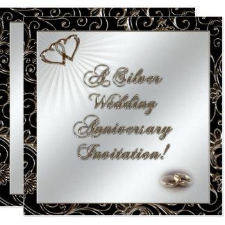 25. Hochzeitstag-Einladungs-Karte Quadratische 13,3 Cm Einladungskarte