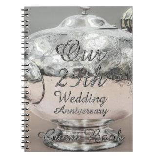 25. Hochzeitstag-Gast-Buch-Silber-Teekanne Notizblock