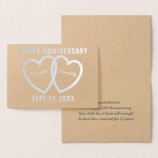 25. Hochzeitstag-Herz-silberne Folien-Karte Folienkarte