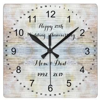 25. Hochzeitstag-Marmormuster Quadratische Wanduhr