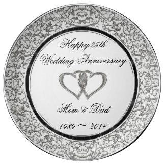 25. Hochzeitstag-Porzellan-Platte Porzellanteller