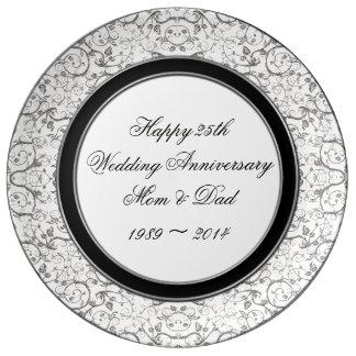 25. Hochzeitstag-Porzellan-Platte Teller Aus Porzellan