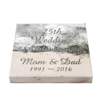 25. Hochzeitstag-schicke silberne Typografie Leinwanddruck
