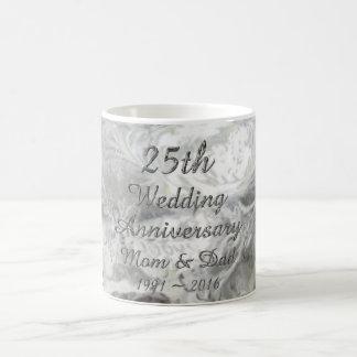 25. Hochzeitstag-schicke silberne Typografie Tasse