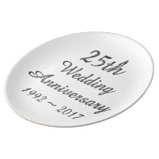25. Hochzeitstag-schicke silberne Typografie Teller Aus Porzellan
