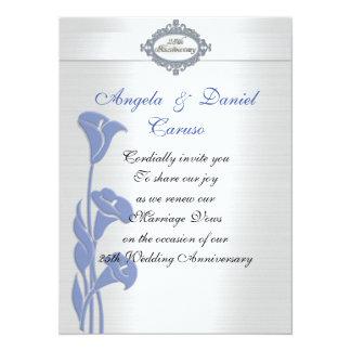 25. Jahrestag Einladung blaue Callalilien Karte