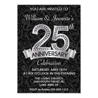 25. Jahrestags-Einladungs-Silber-Diamant Karte