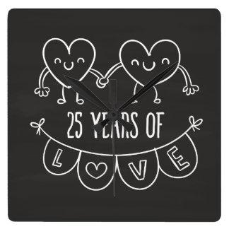25. Jahrestags-Geschenk-Kreide-Herzen Uhren