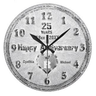 25. Silberne Hochzeits-Jahrestags-Glitter-Party Große Wanduhr