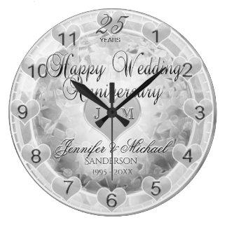 25. Silberne Hochzeitstag-Herzen Große Wanduhr