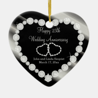 25. Silberner Foto-Hochzeits-Jahrestag Keramik Ornament