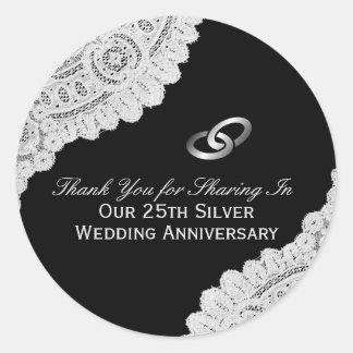 25. Silberner Hochzeitstag danken Ihnen Runder Aufkleber