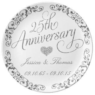 25. Silberner Hochzeitstag-dekorative Platte Porzellanteller