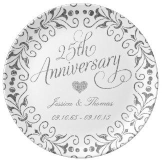 25. Silberner Hochzeitstag-dekorative Platte Teller Aus Porzellan