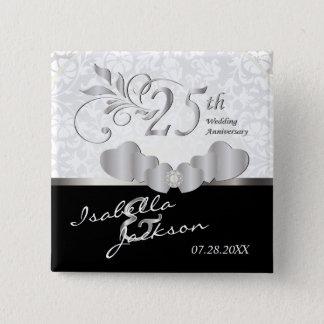 25. Silberner Hochzeitstag-Entwurf Quadratischer Button 5,1 Cm