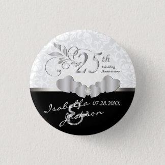 25. Silberner Hochzeitstag-Entwurf Runder Button 2,5 Cm