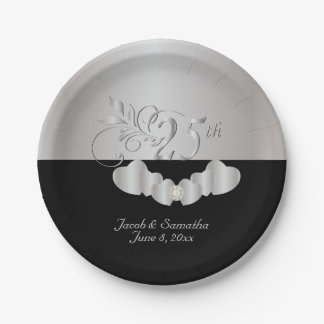 25. Silberner Hochzeitstag Pappteller 17,8 Cm