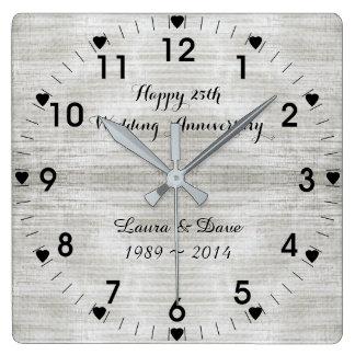 25. Silberner Hochzeitstag Quadratische Wanduhr