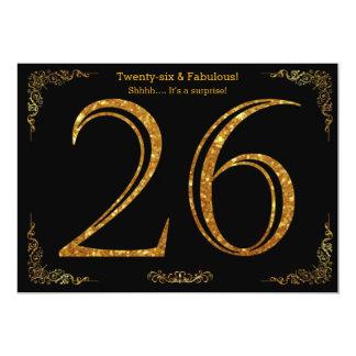 26. Geburtstags-Party, Gatsby styl, schwarzer 12,7 X 17,8 Cm Einladungskarte