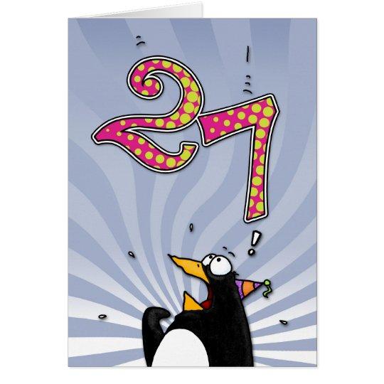 27.geburtstag - Pinguin-Überraschungs-Karte Grußkarte