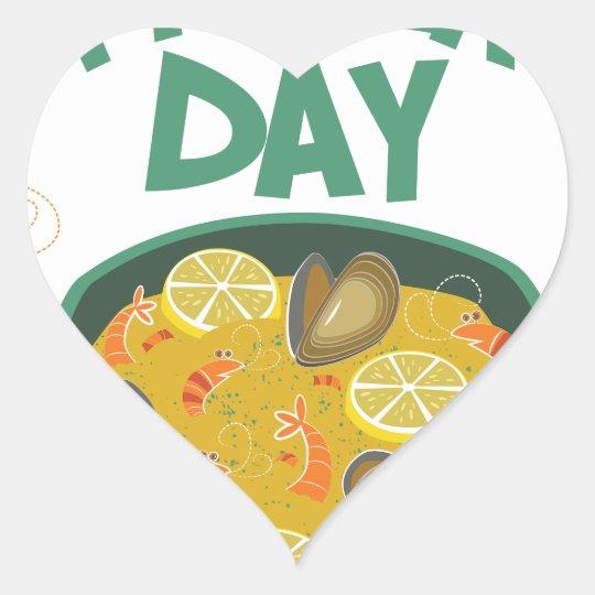 27. März - spanischer Paella-Tag Herz-Aufkleber