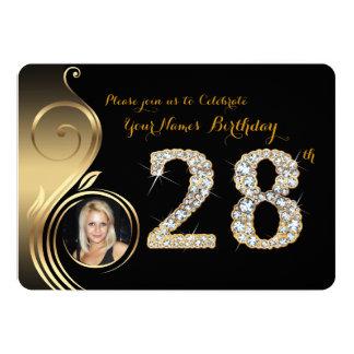 28., Geburtstags-Einladung, Zahl-Diamant, Foto 2 Karte