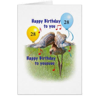 28. Geburtstags-Karte mit Sandhill Kran-Vogel Karte