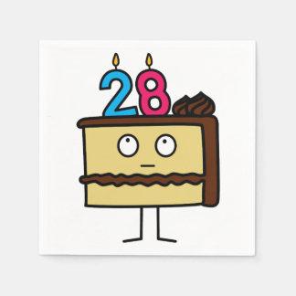28. Geburtstags-Kuchen mit Kerzen Servietten