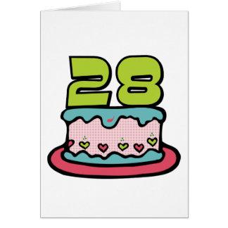 28 Jährig-Geburtstags-Kuchen Karte