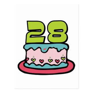 28 Jährig-Geburtstags-Kuchen Postkarte