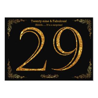 29. Geburtstags-Party, Gatsby styl, schwarzer 12,7 X 17,8 Cm Einladungskarte