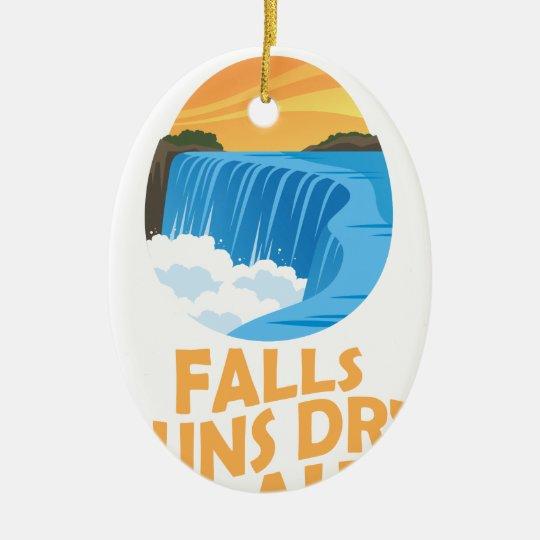 29. März - Niagara Falls lässt trockenen Tag Ovales Keramik Ornament