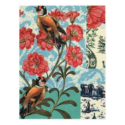 2 BIRDs collage Cartes Postales