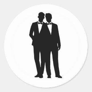 2 Bräutigam-Silhouette-homosexuelle Runder Aufkleber