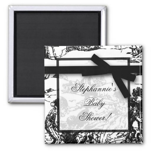 """2"""" faveur blanche noire d'aimant de tissu de x2"""" T"""